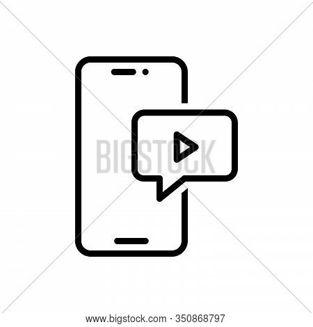 Black Line Icon For Video-message Video Message Application Chat Communication Internet Social Multi