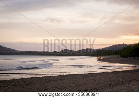 Sunset At Tambor Beach, In The Pacific Of Costa Rica, Next To The Mouth Of The Pochote River. Nicoya