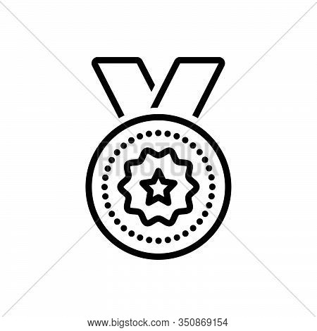 Black Line Icon For Medal-award Medal Award Reward Wreath Laurel Regalia Prize Achievement Winner