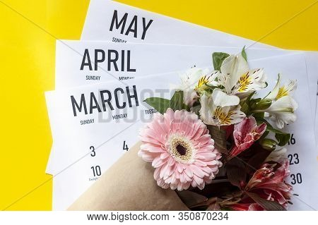Spring Months Calendars. March, April And May Monthly Paper Calendars With A Bouquet Of Spring Flowe