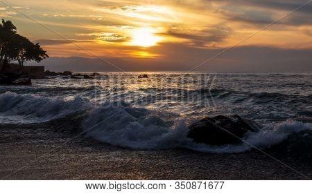 Sunset At The Rocky Beach - Puerto Vallarta, Jalisco, Mexico.