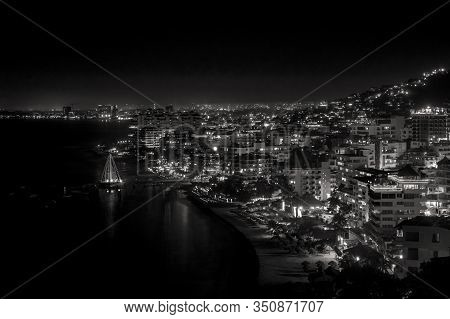 Black And White Scenic Night View Of Puerto Vallarta, Jalisco, Mexico