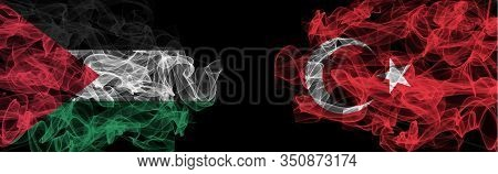 Flags Of Palestine And Turkey On Black Background, Palestine Vs Turkey Smoke Flags