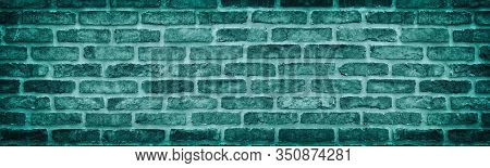 Teal Rough Brick Wall Wide Texture. Old Stone Block Masonry Long Vintage Background