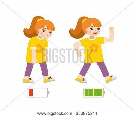 Active And Tired Girl Flat Cartoon Colorful Vector Illustration. Happy And Unhappy Girl. Energetic A