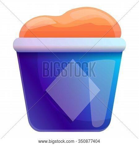 Ice Cream Bucket Icon. Cartoon Of Ice Cream Bucket Vector Icon For Web Design Isolated On White Back