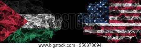 Flags Of Palestine And Usa On Black Background, Palestine Vs Usa Smoke Flags