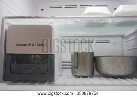 Automatic Ice Maker Function In Modern Refrigerator In Freezer