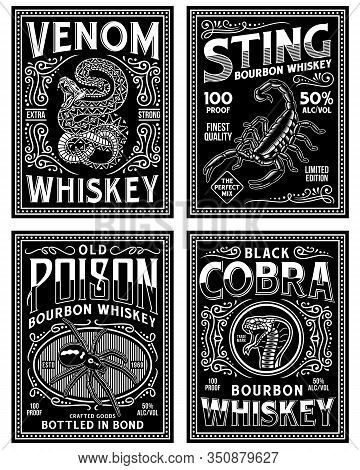 Vintage Whiskey Label T-shirt Graphic Collection In Black And White
