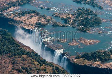 Victoria Falls Aerial View, Zambezi River Waterfall, Between Zimbabwe And Zambia, Africa, A World Fa