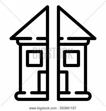 Divorce Separate House Icon. Outline Divorce Separate House Vector Icon For Web Design Isolated On W