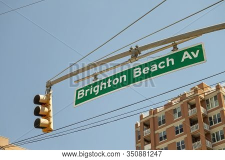 Brighton Beach, New York, Usa, 07/04/2019, Overhead Street Sign Of Brighton Beach Avenue With Inters