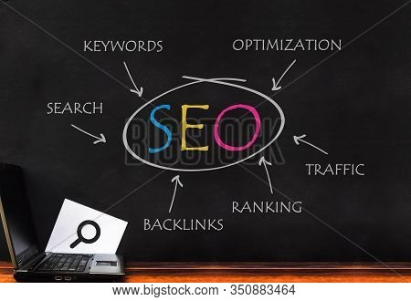 Seo Optimization. Laptop On Seo Word On Dark Wall