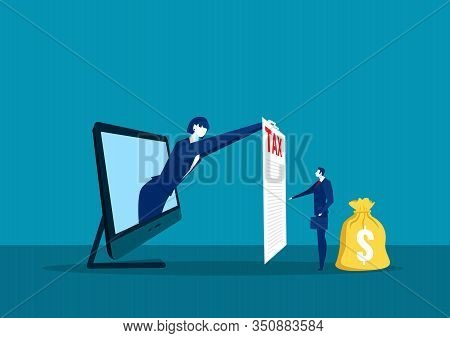 Businesswoman Show Paper Tax On Laptop Computer For Pay Tax Concept Vector Illustrator.