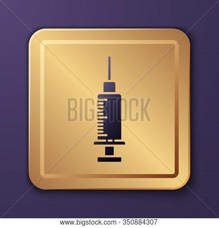 Purple Syringe Icon Isolated On Purple Background. Syringe For Vaccine, Vaccination, Injection, Flu