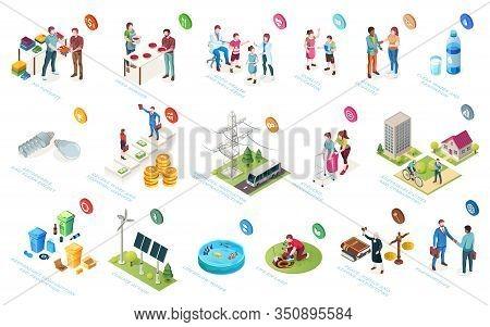 Sustainable Development, Economy And Society Sustainability, Social Responsibility, Isometric Icons.