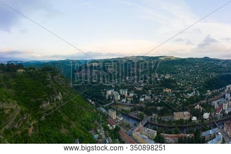 The City Of Chiatura Located In The Gorge Of The Kvirila River, A Tributary Of The Rioni And On Adja