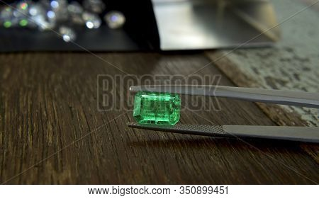 Selected Green Gemstones In A Beautiful And Expensive Gemstone Clamp