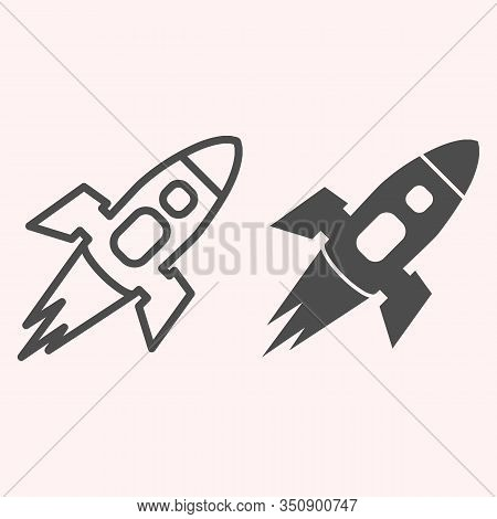 Rocket Line And Glyph Icon. Spacecraft Flies In Atmosphere, Successful Launch. Astronomy Vector Desi