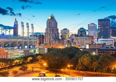 Cleveland, Ohio, USA downtown city skyline in evening.