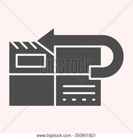 Return To Sender Glyph Icon. Returned Mail, Envelope With Curved Arrow. Postal Service Vector Design