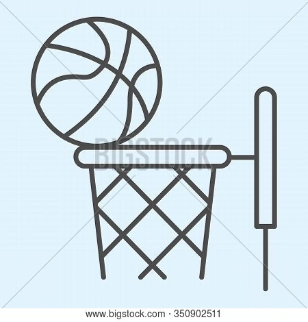 Basketball Thin Line Icon. Streetball And Basket With Ball. Sport Vector Design Concept, Outline Sty