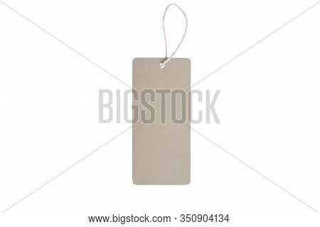 Blank Decorative Cardboard Paper Gift Tag With Twine Tie, Isolated On White Background. Eco Blank Ta