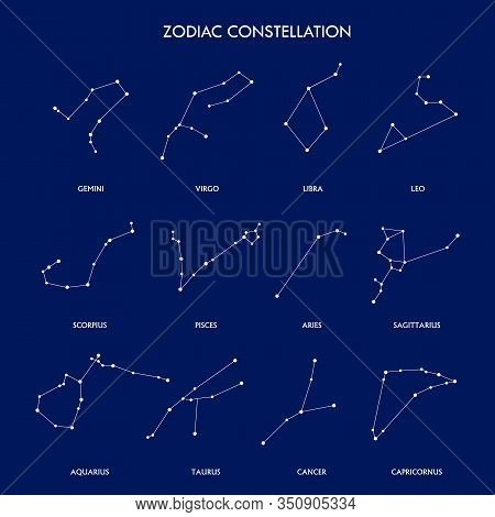 Set Of Zodiac Constellation On The Blue Background. Space And Stars. Set Of Symbol Zodiac Sign, Cons