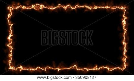Empty Frame With Fire Border Glowing, Burning Flame Signboard. Blank Rectangle Sign Fire Flames Arou