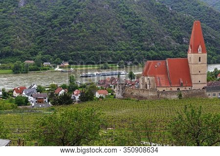 Weissenkirchen, Austria - May 13, 2019: This Is The Fortified Gothic Basilica Of The Assumption Of T