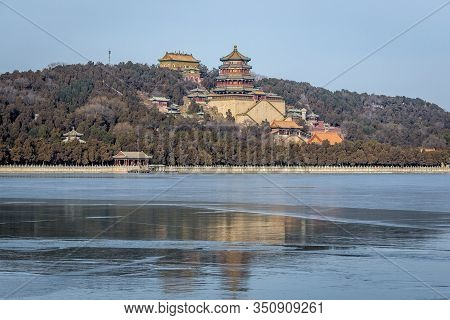 Kunming Lake In Summer Palace In Beijing, Capital City Of China, View On Longevity Hill With Buddhis