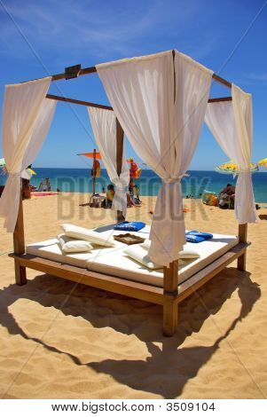 Bed on the beach at Algarve region