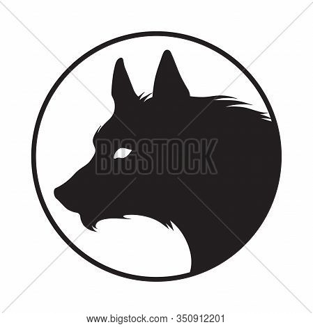 Silhouette Of The Wolf Isolated. Logo, Sticker, Print Or Tattoo Design Vector Illustration. Pagan To