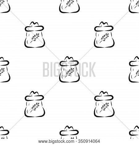 Vector Pattern With Banks Of Wheat Grits With Engraving. Hand-drawn Black And White Illustration. Im
