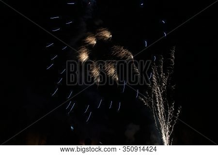 New Year Fireworks On Dark Sky In Karvina Town In Czech Republic