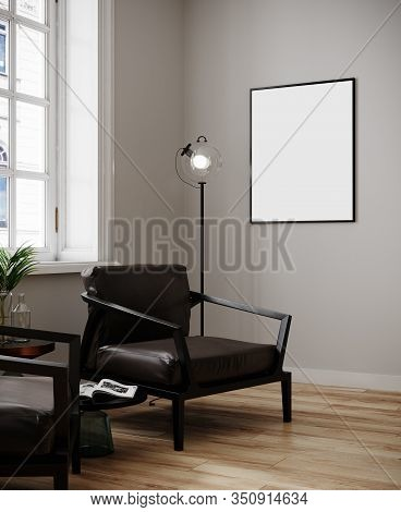 Poster Mockup In Modern Minimalistic Interior  With Daylight.modern Interior With Brown Armchairs, L