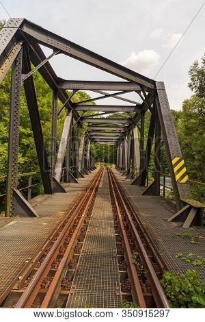 Railway Track With Bridge Above Weisse Elster River Near Plauen City In Germany