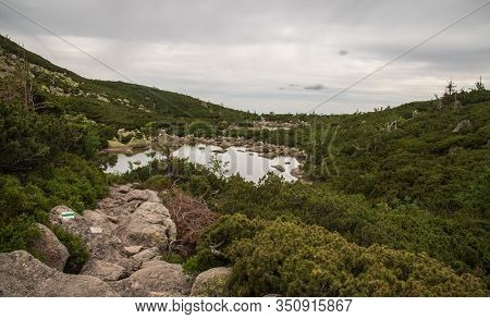Two Small Sniezne Stawli Lakes With Stone Hiking Trail In Karkonosze Mountains In Poland