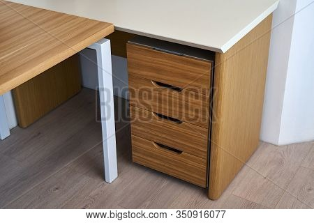 Wooden Office Desk And Storage Cabinet With Drawers. Wooden Office Furniture