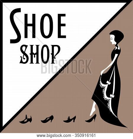 Old-fashioned Lady In Victorian Gown Trying On Shoes On Sepia Background