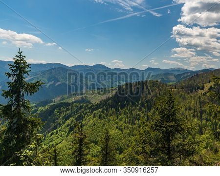 View From Chladkove Hill Between Klak Hill And Sedlo Prislop Mountain Pass In Springtime Velka Fatra