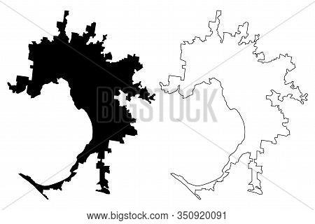 Melbourne City, Victoria (commonwealth Of Australia, Australia City) Map Vector Illustration, Scribb