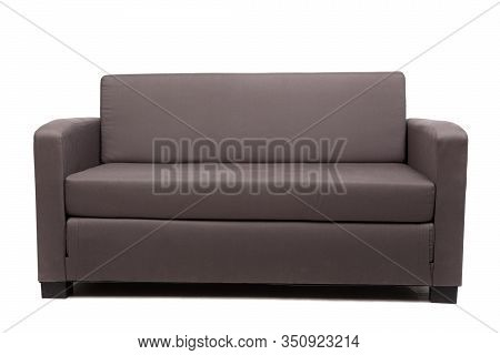Brown Sofa Couch, Isolated On White Background