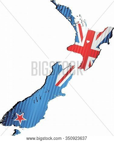 Shiny Grunge Map Of The New Zealand - Illustration,  Three Dimensional Map Of New Zealand