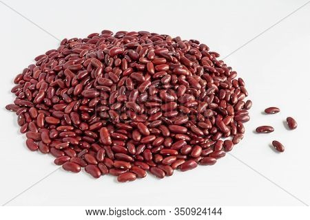 Heap Of  Red Beans Pile Isolated On White Background With Copy Space For Text. Concept Food For Heal