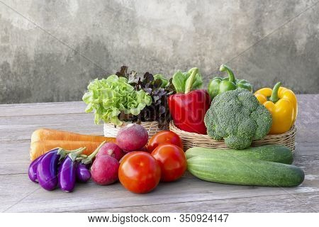 Online Order Grocery Shopping Concept. Food Delivery Ingredients Service At Home For Cooking On Wood