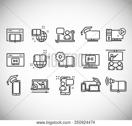 Education Line Icons. Set Of Laptop, Book And Video Tutorial Signs. Contains Such Icons As Video Tut
