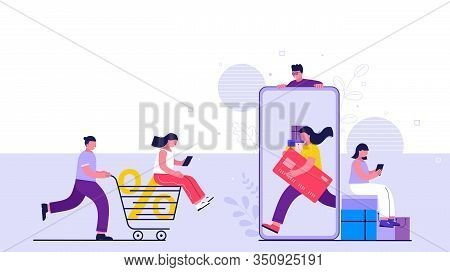 Shopping Online On Website Or Mobile Application. People Buy Online Making Payments From Smartphone.