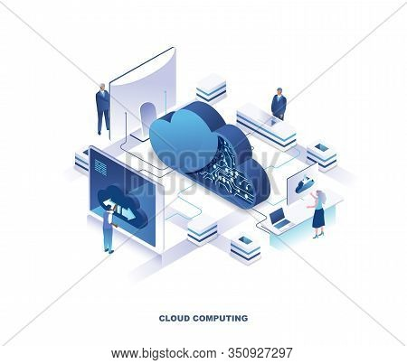 Cloud Computing Service Isometric Landing Page. Concept Of Innovative Technology For File Storage, D
