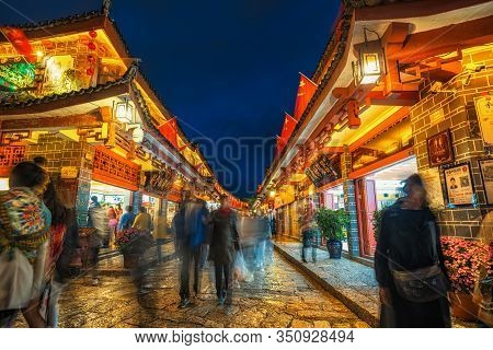 Lijiang, China - October 2019 : Scenic View Of The Lijiang Old Town At Twilight Time On October 21,